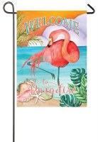 "18"" x 13"" Mini Welcome to Paradise Flamingo Garden Flag"