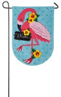 "18"" x 13"" Mini Turquoise and Pink Flamingo Welcome Garden Flag"