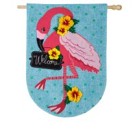 "44"" x 28"" Turquoise and Pink Flamingo Welcome House Flag"
