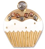 Set of 2 White and Gold Cupcake Snap
