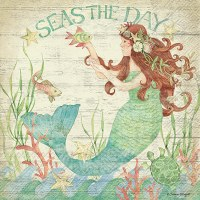 "6"" Square Seas The Day Mermaid Luncheon Napkins"