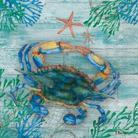 "6"" Square Blue Crab and Starfish Luncheon Napkins"