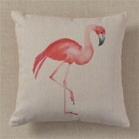 "18"" Square Pink Flamingo Pillow"