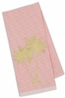 """28"""" x 18"""" Gold Palms on Pink and White Stripes Kitchen Towel"""