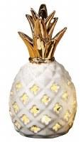 "9"" LED White and Gold Ceramic Pineapple Lantern"