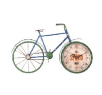 """17"""" Blue and Green Bike Clock"""