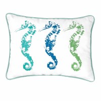 """12"""" x 16"""" Green and Blue Three Seahorse Pillow"""