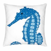 "18"" Square Blue Seahorse Pillow"