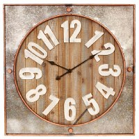 "32"" Square Wood and Metal Wall Clock"