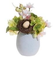 "9"" Faux Flowers in Blue Egg Vase"