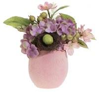 "9"" Faux Flowers in Pink Egg Vase"