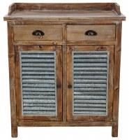 """36"""" Wood and Galvanized Metal Shutter Door Cabinet"""