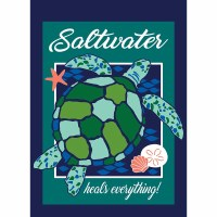 "18"" x 13"" Mini Saltwater Heals Everything Sea Turtle Flag"