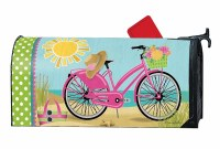"""20"""" x 18"""" Morning Bike Ride on the Beach Mailbox Cover"""