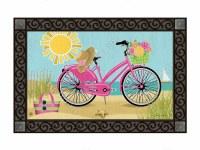 "18"" x 30"" Morning Bike Ride on the Beach Doormat"