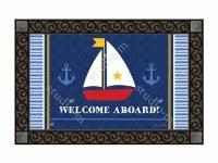 """18"""" x 30"""" Welcome Aboard Sailboat Doormat"""