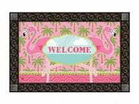 """18"""" x 30"""" Coastal Pink Flamingo Welcome Doormat"""