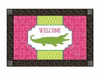 """18"""" x 30"""" Pink and Green Welcome Gator Doormat"""