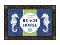 """18"""" x 30"""" Seahorse Welcome to the Beach House Doormat"""