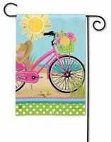 "18"" x 12"" Mini Morning Bike Ride on Beach Flag"