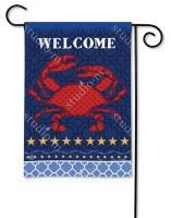 """18"""" x 12"""" Mini Coastal Crab Welcome Flag"""