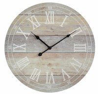 """18"""" Round Whitewash Plank Clock"""