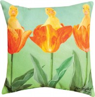 "12"" Square Ducks in Tulips Pillow"
