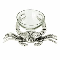 """10"""" Silver Crab with Glass Bowl"""