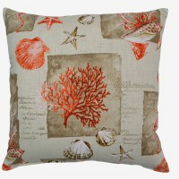 """18"""" Square Coral Shell Knife Edge Pillow"""