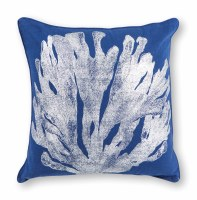 """18"""" Square Blue and Silver Coral Pillow"""
