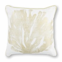 """18"""" Square Ivory and Gold Coral Pillow"""