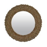 """35"""" Round Natural Jute Knot Wall Mirror"""