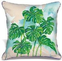"""18"""" Square Monstera Leaves Pillow"""