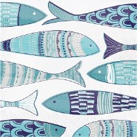 "7"" x 7"" Mediterranean Multicolor Fish Paper Luncheon Napkins"