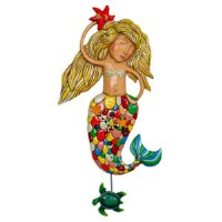 "31"" Large Sirena Mermaid Wall Clock with Turtle Pendulum"