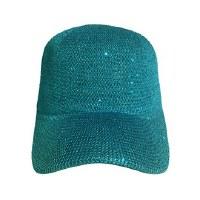 Teal Woven Sequin Cap