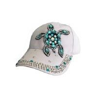 White Jeweled Sea Turtle Cap