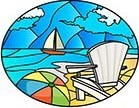 "4"" Oval Beach Chair Stained Glass Window Cling"