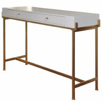 """50"""" White Top Console with Two Drawers and Gold Legs"""