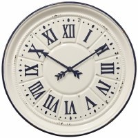 "38"" Round White and Navy Metal Wall Clock"
