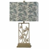 """30"""" Flat Bamboo Lamp with Printed Shade"""
