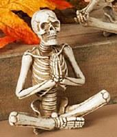 """6"""" Polyresin Praying Yoga Skeleton"""