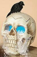 """9"""" Electric Smoking Skull With Crow"""