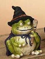 "5"" Polyresin Halloween Frog in Black Hat"