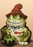 "5"" Polyresin Halloween Frog in Orange Hat"