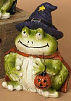 "5"" Polyresin Halloween Frog in Purple Hat"