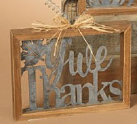 """10"""" Square Wood and Metal Give Thanks Wall Plaque"""
