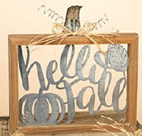 """10"""" Square Wood and Metal Hello Fall Wall Plaque"""