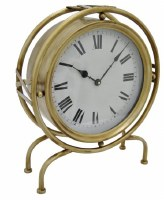 """17"""" Gold Metal Round Table Clock"""