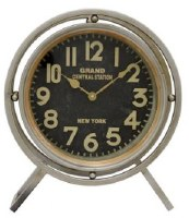 "16"" Legged Round Silver Metal Table Clock"